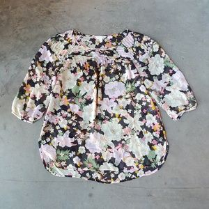 LC Lauren Conrad Floral Pintuck Peasant Top large
